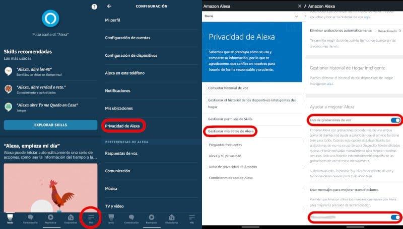 Alexa privacidad, historial de voz