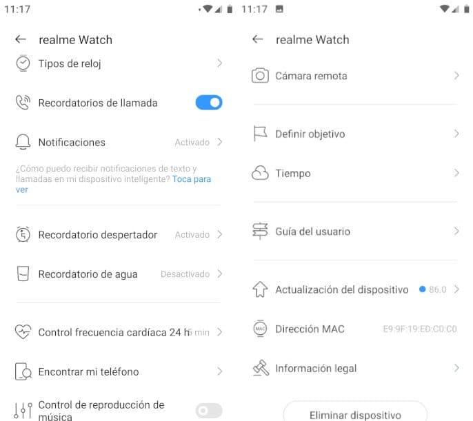 realme watch configuración