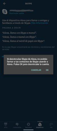 desvincular skype en Alexa